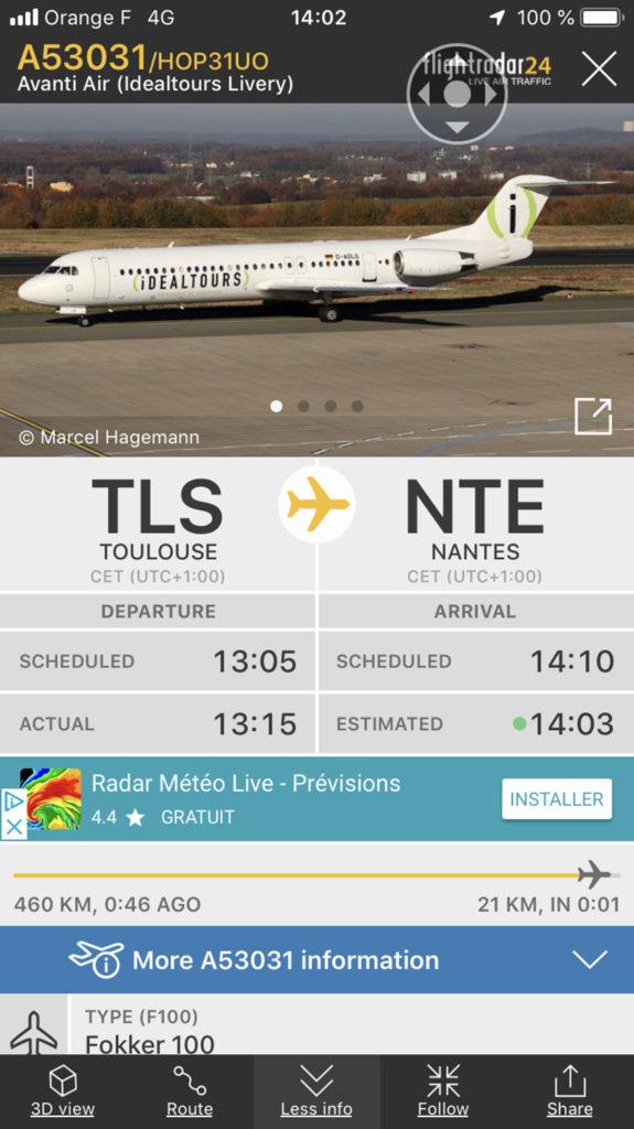 Flightradar24 pour Un avion sur la ville