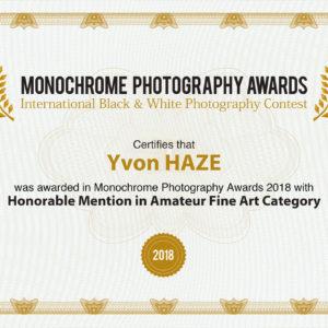 """Certificat """"Réservé"""", """"Honorable Mention in Fine Art Category """"à la COMPETITION MONOCHROME AWARDS 2018"""