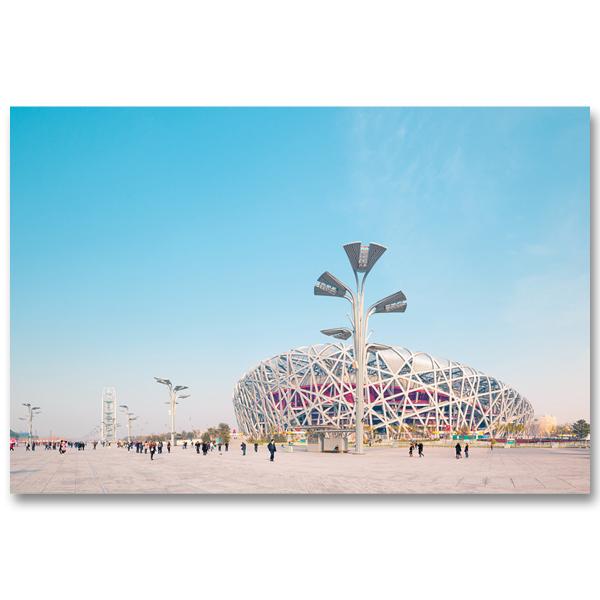 Une vue de l'Olympic Green et du Nid d'oiseau, le stage Olympique de Pekin Une belle et douce fin de journée par Yvon HAZE